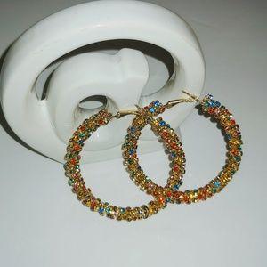 Jewelry - Gold Candy Rhinestone Encrusted Hoop Earrings
